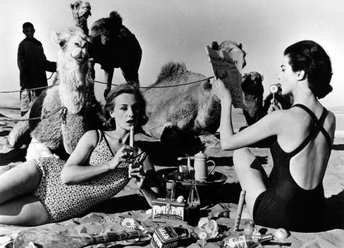 prettyused:  William Klein. Tatiana and Marie Rose and Camels, Morocco (1958).