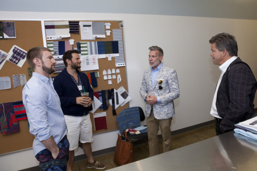 cfda-fashionincubator:  menswear maven Nick Wooster in the Burkman Bros studio at yesterdays {FASHION INCUBATOR} Open House