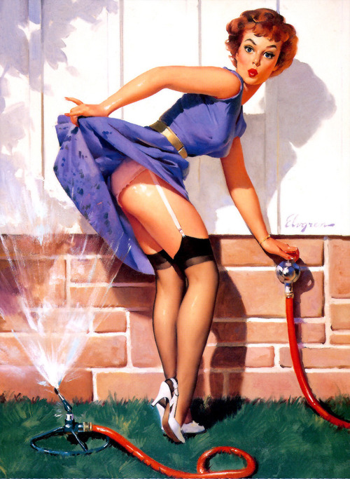 """A Near Miss"" by Gil Elvgren, 1960"