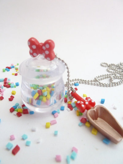 Candy Jar necklace with sweet candy spoon