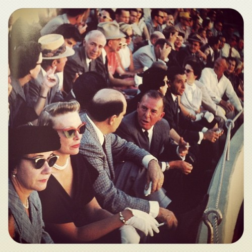 Spectators at the bullfight, Juárez, Mexico, September 1957. Original photo by Stanley Marcus, reshot with Instagram.