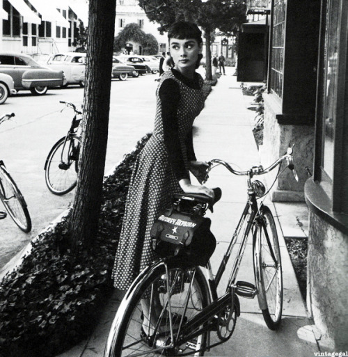 Audrey Hepburn on the set of Sabrina, photographed by Mark Shaw, 1953