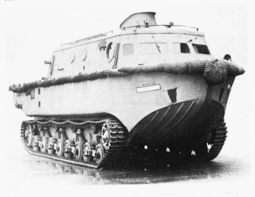 "German Landwassershlepper, literally ""Land-Water-Hauler"", although ""shlep"" has such an extra connotation of arduous labor in Yiddish that it's appropriate for this tub.  There exists a point- determined by the hull's friction and shape- where no amount of extra diesel horsepower will make you go any faster (sometimes referred to as ""hull speed"").  If you're dragging big gnarly claws around, that speed's going to get you halfway to nowhere.  It would make a great RV, though. World of Tanks"