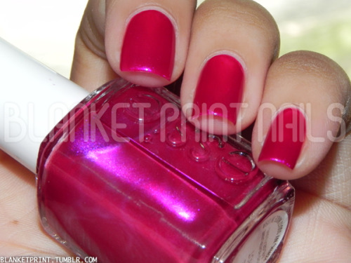 Color: Sure Shot (Essie)Retail Price: $8.00 (USD) This shade is from Essie's 2012 Resort collection. It is a dark pink-fuchsia shimmer that appears slightly frosty, too. The formula for this shade was a little thicker than I expected, but luckily, it didn't really impact application. Other than that, Sure Shot is very pigmented and saturated, and applies smoothly; it was opaque in an easy two coats. However, you should note that it will stain your nails if you forget to use a base coat! I know Sure Shot belongs in a spring/summer collection, but I tend to like jewel tone shades during the fall, so this would be great to pick up if you spot it in stores! Disclosure: Product sample provided by Essie.