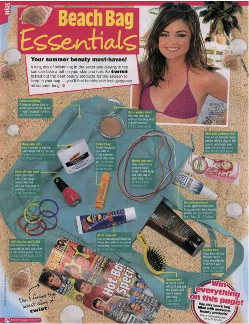 Beach Babe travel size (www.nymbrands.com) in the July issue of Twist magazine.