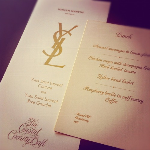 Yves Saint Laurent's Crystal Charity Ball program and menu card, 1991. (Taken with Instagram)