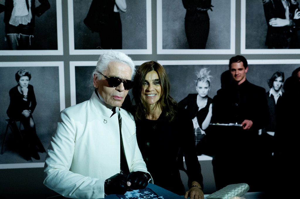 "Karl Lagerfeld and Carine Roitfeld at the exhibition and party for their new book, ""The Little Black Jacket."""