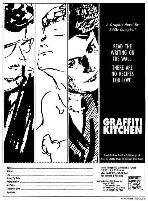 Promotional ad for Graffiti Kitchen by Eddie Campbell, 1993.