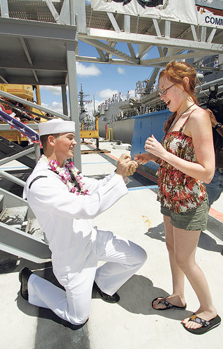 USS Chafee welcomed home after a 6-month tour of duty Nathan Mawer bent down on one knee to propose to Sarah Bankston immediately after he got off the ship. Bankston said yes.   Mawer proposed!!!!!! i knew he was gonna do it!! He's so awesome! she's lucky