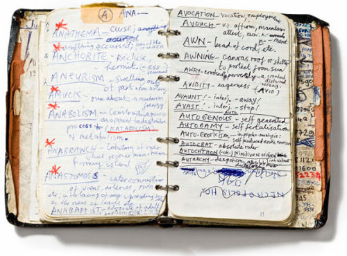 workman:  iamjapanese: Nick Cave's handwritten dictionary of words, 1984. Nick Cave Collection, the Arts Centre, Melbourne
