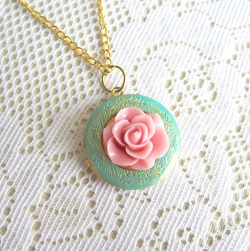 Bloom Locket Chain Necklace (Patina Mint and Pink) - JEWELSALEM