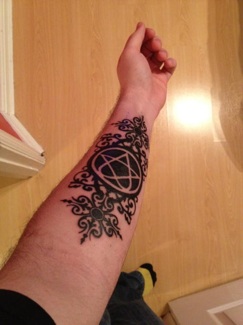 Done by Ricky @ Ink Station, UK, South Wales. I have already submitted this tattoo as some may notice but I thought it would be cool to submit it an hour after it was done back in March. For those who didn't see the first post, it's from the HIM album 'And Love Said No' where I rotated the design around to go down my forearm! www.haven-in-life-and-death.tumblr.com