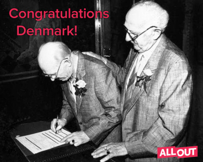 History in Denmark: 23 years ago, Axel and Eigil Axgil were the first in line to apply for a Danish civil union. Yesterday, Parliament voted for FULL marriage equality.Thank you, Axel and Eigil, for your part in the fight.