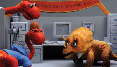 dinosauroffice:  Dinosaur Office: Bring Your Child to Work Day is now available in 3D in the Nintendo 3DS Video App. Kids can be such a mouthful. Rawr!
