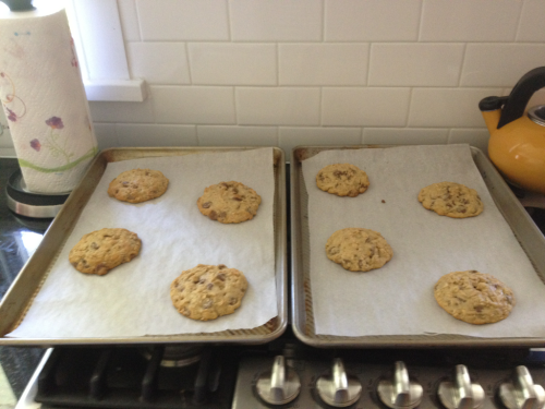 Baking some oatmeal chocolate chip cookies!