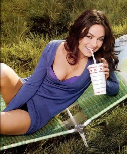 starsgonewild:  Mila Kunis posing with in-n-out cup.