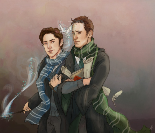 loobeeinthesky:  This is the younger Charles and Erik from the brilliant Harry Potter influenced The Better Men by TurtleTotem I can't believe I drew this months ago, and then completely forgot about it, like a prat.