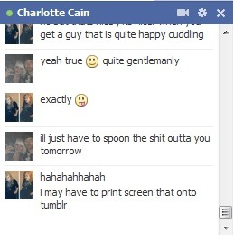 Talking about Charlees man problems :D  Apparently spooning me is the solution