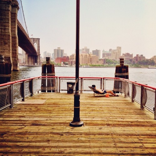 Reclining under the Brooklyn Bridge (Taken with Instagram at Manhattan)