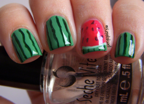beautylish:  Summertime means juicy watermelons and Michelle C.'s created yummy watermelon nails to match!