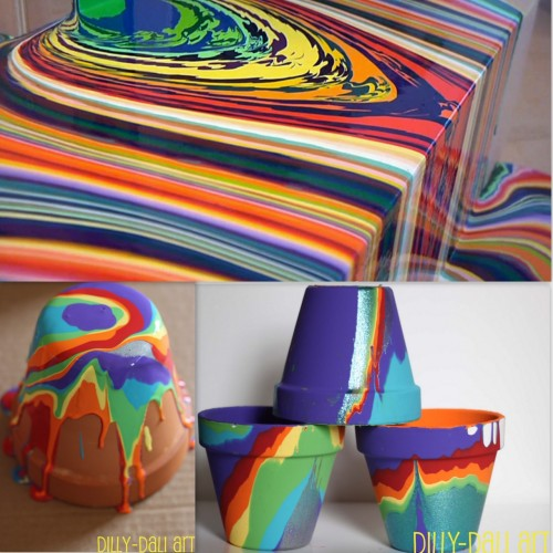 "DIY Pour Painting Flower Pots Tutorial. This reminds me of Holton Rower's ""Pour"" Series (top photo) and mesmerizing video here, but for kids. Bottom Photos: DIY by dilly-dally art. Tutorial for the flower pots by dilly-dali art here."