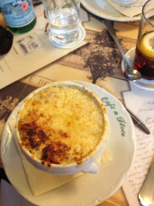It started raining and we ducked into Cafe de Flore for some French onion soup. A perfect farewell lunch.