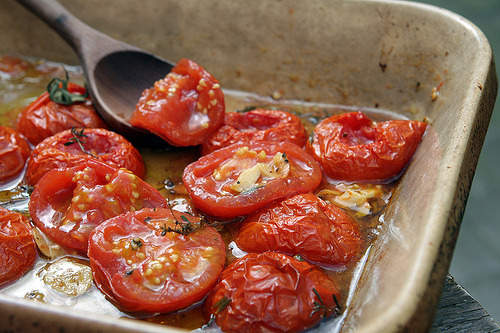 foodopia:  oven-roasted tomatoes: recipe here  These are delicious!