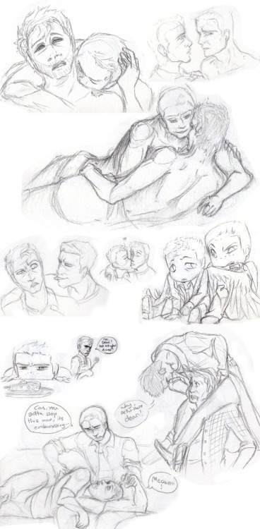 animated-thought-bubble:  A taster of some of the lighter destiel doodles i have :P