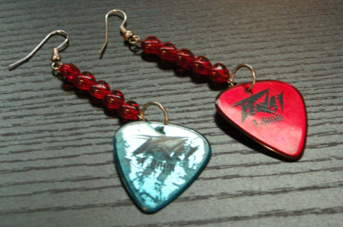 Guitar Pick earrings. I made these. Totally punk, right?