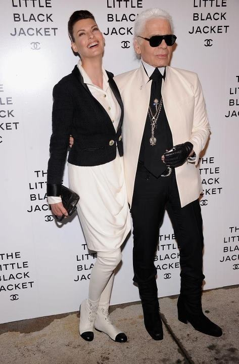 """The Little Black Jacket"" Who: Karl Lagerfeld & Linda Evangelista"