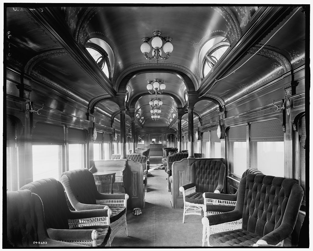 Inside the Pere Marquette Railroad parlor car no. 30