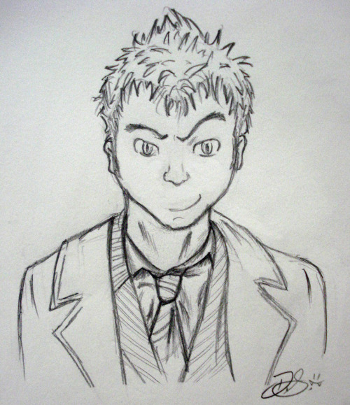 My failed attempt at drawing the 10th Doctor in anime form….