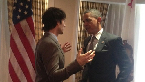 Obama and Ian Somerhalder talk green energyPresident invited several celebrities to a breakfast Thursday to talk politics and encourage their participation in his re-election campaign.