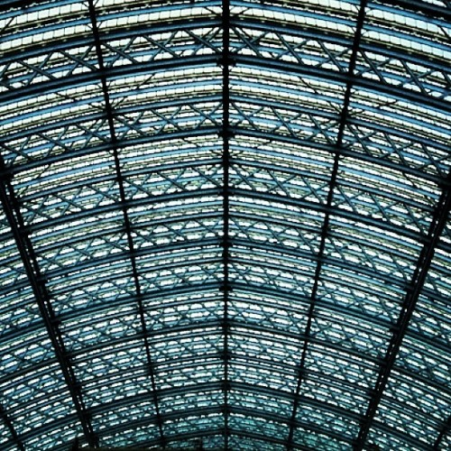 instahipsta:  Roof • Revisit #stpancrasinternational #stpancras #departures #glass #steel #railway #terminus #interchange #international #station #eurostar #London #england #greatbritain #unitedkingdom #perspective #distance #curved #bluesky #architecture #british #london2012 #june #2012 #lofi #lux (Taken with Instagram at St Pancras Intl. Station (STP) - International Lines)
