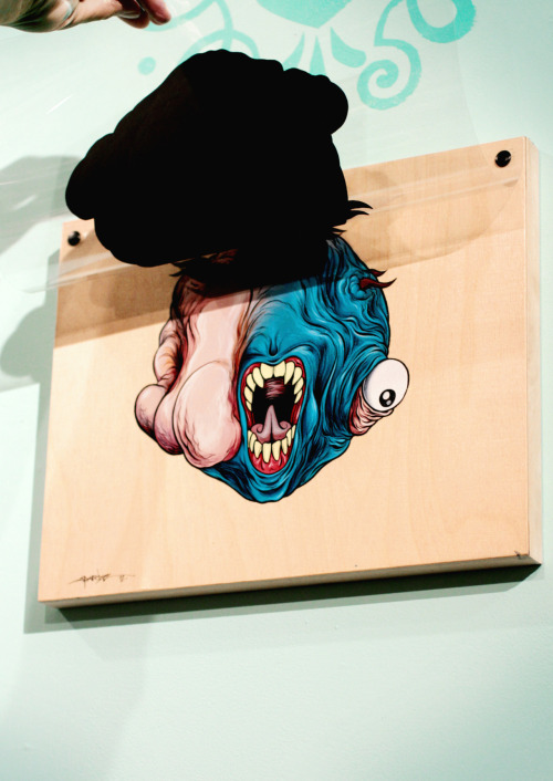 Alex Pardee's latest art show is up now in Brooklyn through July 1st… via pardeemonster:  My new art show, which is a game show, and is focused around tumors, pop culture, and diagnosing things for prizes, opens tomorrow night at Cotton Candy Machine in Brooklyn NY. Juztapoz Magazine just released the first preview for the show here! Thank you CHLOE for the disgustingly beautiful photos.