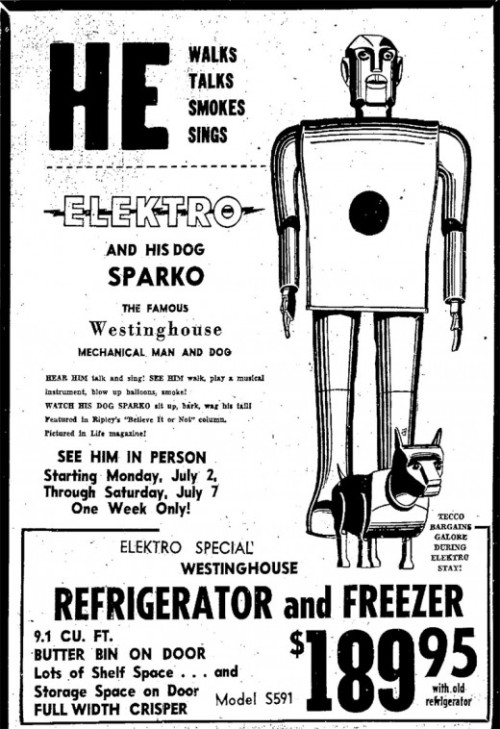 He walks, talks, smokes and sings… It's Elektro and his dog Sparko…