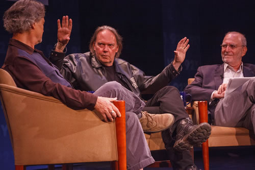 "92y:  ""If you're thinking, you're stinking."" -Neil Young Neil Young shares the 92Y stage with filmmaker Jonathan Demme and moderator Leonard Lopate as they discuss Journeys, a new concert documentary that was previewed last night. Capital New York has a thorough recap.  Words to live by."
