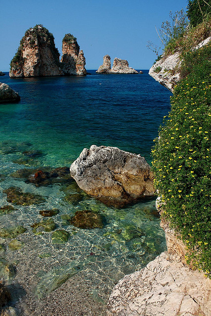 visitheworld:  Mediterranean blue at Tonnara di Scopello in Sicily, Italy (by erikruthoff).