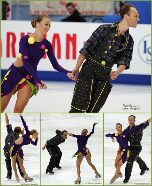 Nelli Zhiganshina and Alexander Gazsi having fun for their Golden Waltz short dance at the 2011 World Championships. Their music was from Cirque du Soleil. Sources: http://www.flickr.com/photos/51462034@N08/6182436008/in/set-72157627624796347 http://fotki.yandex.ru/users/kkfksenia/album/161355/?&p=6