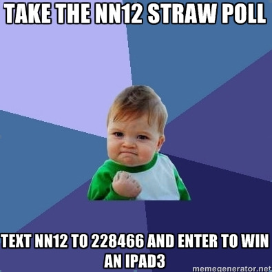 Take the Netroots Nation strawpoll and enter to win an IPAD3. TEXT NN12 to 228466 follow @Netroots_Nation and @ChangeNation