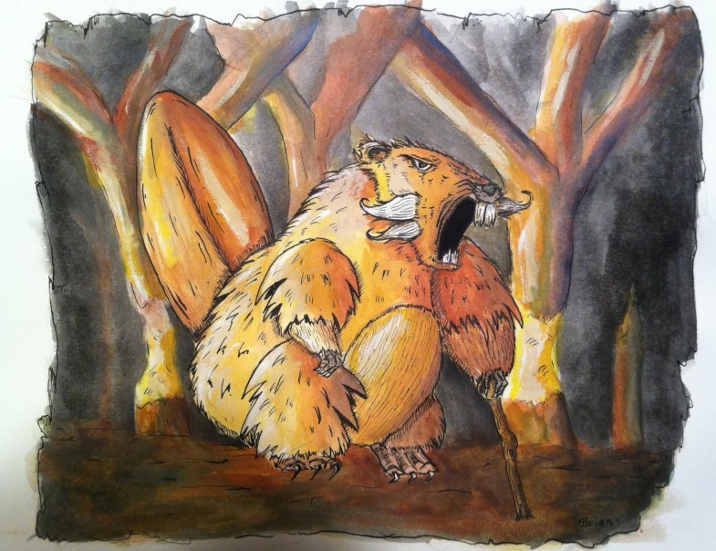 This is a watercolor painting of an old angry beaver. This illustration is possible going to be part of a graphic novel.