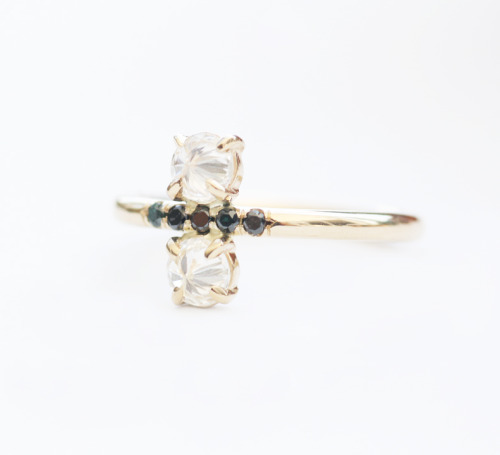 Stacked Diamond pinky ring- 14K YG gold black and white diamonds