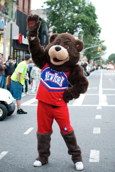 The New York Cheer Bear on Fifth Avenue…Park Slope, Brooklyn (via Lilly Frances)