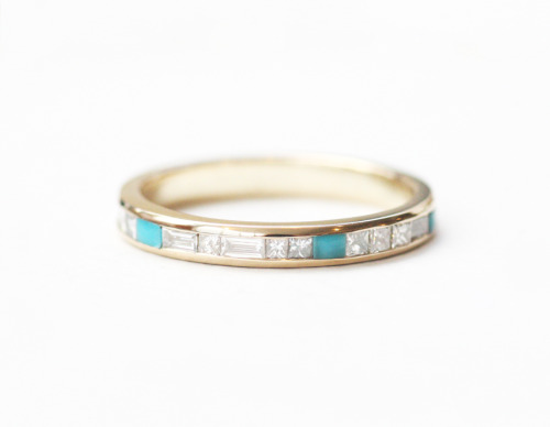 mociun:  Turquoise and diamond eternity band in 14K YG