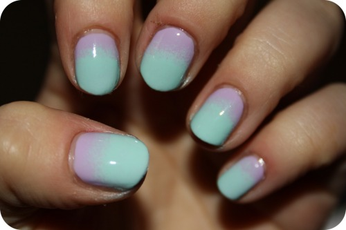 Mint Candy Apple/Lilacism fade, mad Essie love tonight!