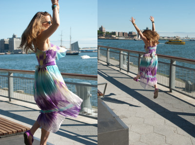 Joy is a Perfect Purple Pleated Summer Dress…Financial District, NYC (via Style Bomb)