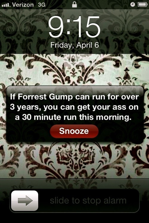 No this is an alarm message I need to include on my cell phone. Maybe this will motivate my Sundays!