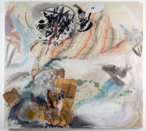 Lauren Luloff Drawing 2009 Oil on bed sheets 73x84""