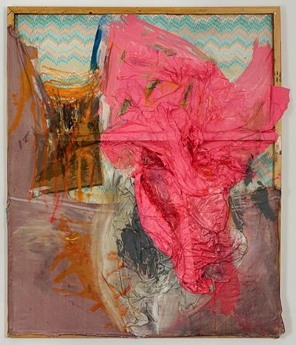 Lauren Luloff Pink 2009 Oil on bed sheets 76x65""