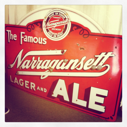 Russ from Johnston stopped by with this awesome old sign from the 1940s. It was neon then. Still awesome.